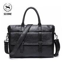 Scione erkek deri evrak çantası yeni taşınabilir iş çantası erkekler için ofis dizüstü bilgisayar askılı çanta deri Tote çanta