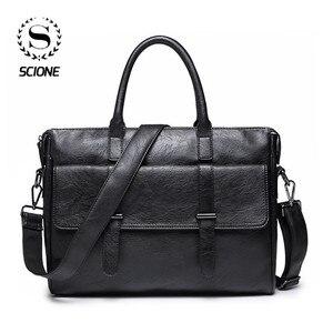 Image 1 - Scione الرجال حقيبة جلدية حقيبة جديدة المحمولة حقيبة أعمال للرجال مكتب محمول حقيبة ساعي حقيبة الجراب الجلدية حقيبة