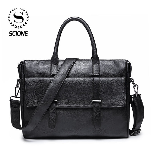 Scione الرجال حقيبة جلدية حقيبة جديدة المحمولة حقيبة أعمال للرجال مكتب محمول حقيبة ساعي حقيبة الجراب الجلدية حقيبة