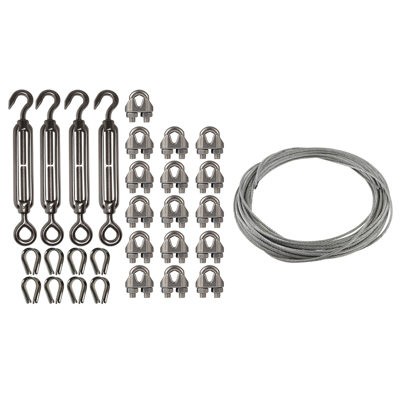 2 Set Stainless Steel Kit: 1 Set Flexible Wire Rope Cable 3Mmx12M & 1 Set 4-Pcs Turnbuckle/Tension(Eye&Hook, M6)+16-Pcs 1/8 Inch