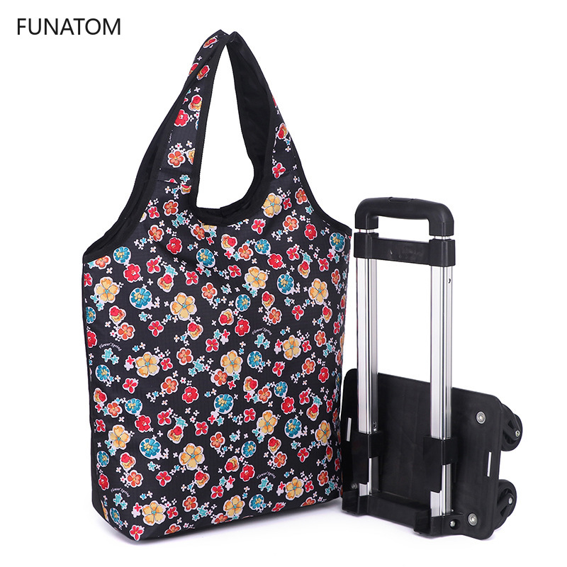 Foldable Flower Shopping Bag Trolley Wheel Lightweight Folding Bag Traval Cart