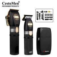 CestoMen Luxury 3pcs POP bilancieri tagliacapelli Set Cordless elettrico Clipper Trimmer rasoio barbiere strumenti di taglio di capelli con spazzola a pettine