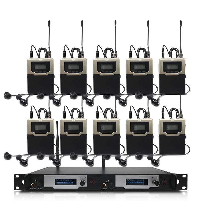 Wireless <font><b>in</b></font>-<font><b>ear</b></font> <font><b>monitoring</b></font> system, professionelle bühne leistung überwachung system mit 10 bodypack sender image