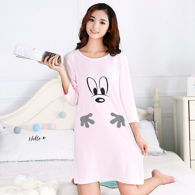 2018 Spring New Style WOMEN'S Dress Half-sleeve Shirt Mickey Cartoon Casual Tracksuit Nightgown Women's