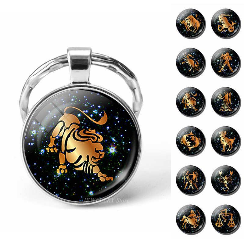 12 znak zodiaku breloki szkło Cabochon biżuteria konstelacji brelok do kluczy Leo Scorpio ryby wisiorek kobiety mężczyźni prezenty urodzinowe