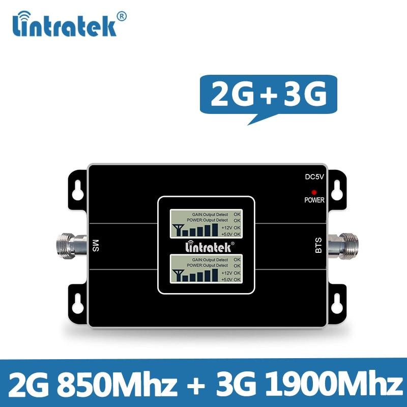 Lintratek CDMA 850MHz Repeater GSM 2G 3G 1900MHz Dual Band Cellphone Signal Booster 65dB Repetidor De Sinal De Celular 850 1900