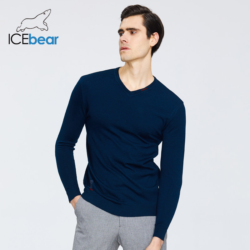 ICEbear Spring 2020 New Men's Sweater Fashion Round Neck Sweater Brand Clothing 1901
