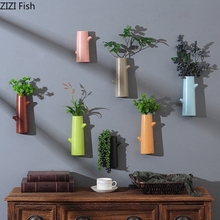 Ornaments Mural Wall-Vases Hanging-Plant Chinese Ceramic Artificial-Flowers Home-Decor