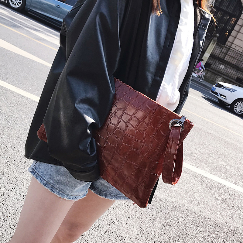 New Fashion 2019 Women Alligator PU Leather Briefcase Luxury Handbag Envelope Large Clutch Zipper Purse Designer Wristlet Bag