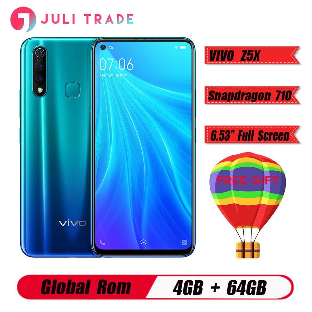 """Téléphone portable d'origine Vivo Z5X 4G LTE 6.53 """"écran Snapdragon 710 Octa Core 4G 64G Android 9 5000mAh grande batterie Smartphone"""