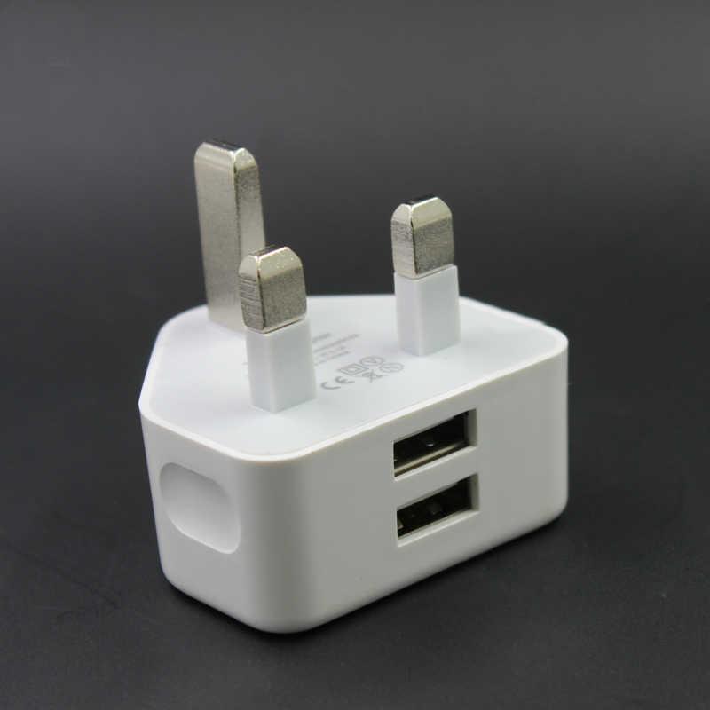 Uniwersalny 5 V/2.1A podwójny Port USB szybka ładowarka wielkiej brytanii sieci 3 Pin wtyczka ładowarka ścienna Adapter USB do telefonu do ładowania dla iPhone iPod Samsung