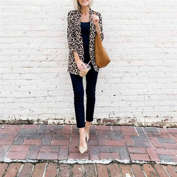 NEW Trendy Women free shipping clothes Long Sleeve Slim Fit Casual Coat leopard print cardigan Polyester Outwear one pieces