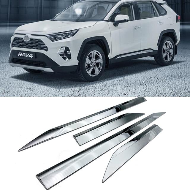 ABS Chrome Plastic Side Molding Cover Trim Door Body Kits for Toyota RAV4 RAV 4 2019 2020 accessories 4pcs/set
