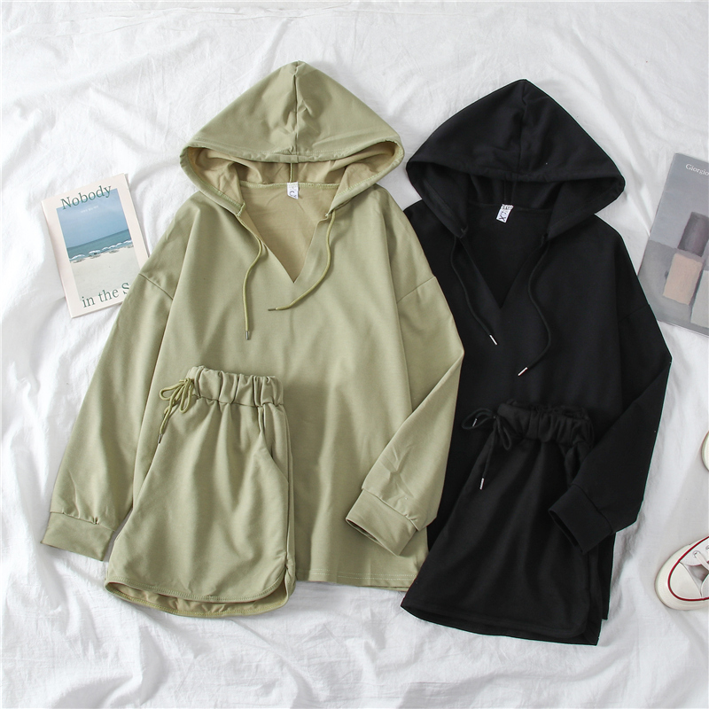 Loose Hooded Thin Sweatshirt + Elastic Waist Wide Leg Short Two Piece Set Women's Casual Set