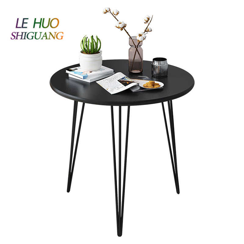Ins Style Round Coffee Table Wooden Top Metal Legs Compact Modern Home Table White Black Tea Table For Living Room Bedroom Coffee Tables Aliexpress