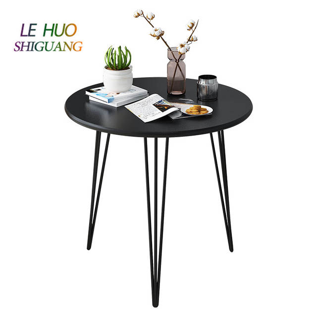 Ins Style Round Coffee Table Wooden Top Metal Legs Compact Modern