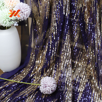 2019 4 Way Stretch Sequin Fabric Elegant Beautiful Shining Customized Sequin Mesh Fabric With Blue And Gold Sequins For Dress