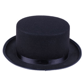 1x Men Black Top Hat Jazz hat Magician Costume Gentleman hat Tuxedo Mat Hatter Wedding Christmas Par