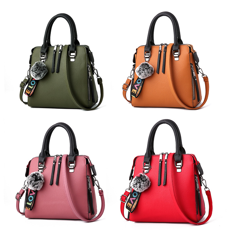 SHUJIN 2020 PU Leather Women Bags Messenger Bag Fur Ball Crossbody Flap Bags Female Shoulder Bag Solid Color Handbags