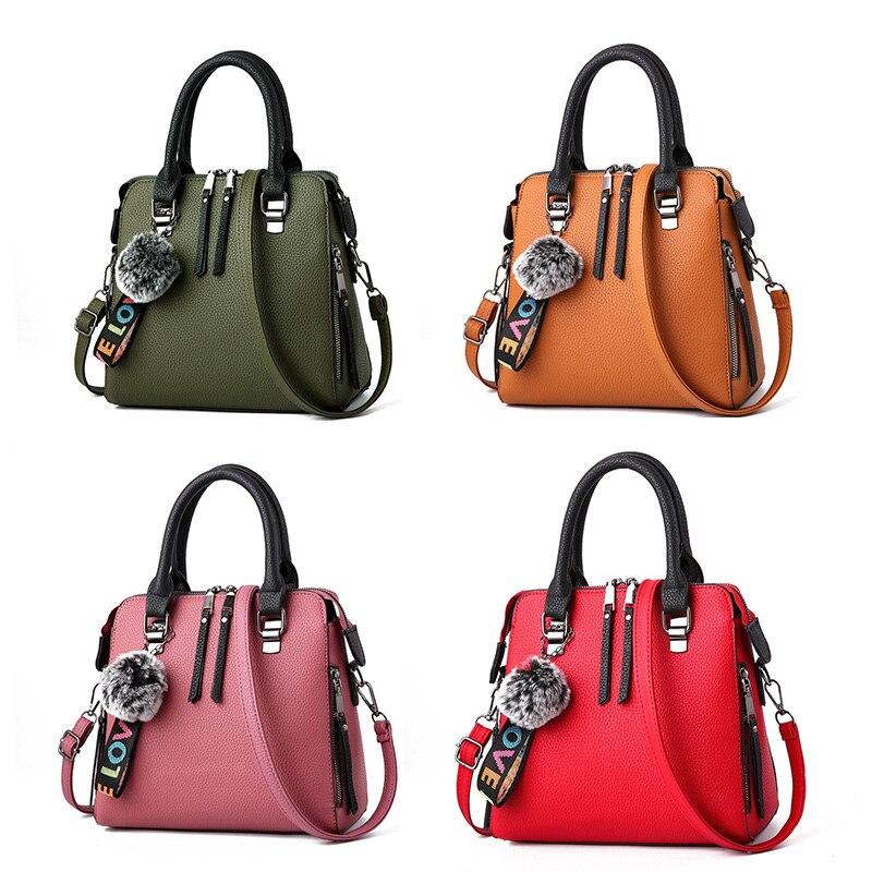 SHUJIN 2020 из искусственной кожи, женские сумки, сумка почтальон, Меховые помпоны, сумки через плечо, женские сумки на плечо, одноцветные сумки|Сумки с ручками|   | АлиЭкспресс