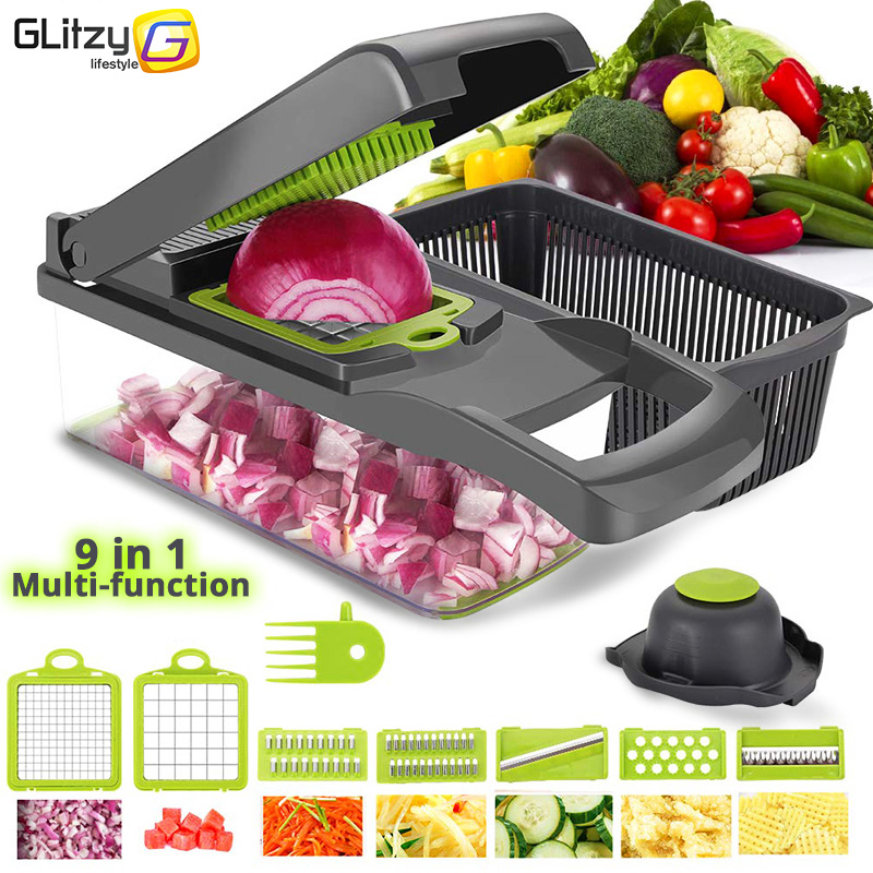 Vegetable Cutter 6 Dicing Blades Mandoline Slicer Fruit Peeler Potato Cheese Grater Chopper Kitchen Accessories Vegetable Slicer(China)