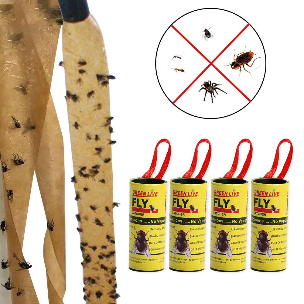 Device Catcher Bug-Glue Sticky-Fly-Paper Insect Flies Pests 4-Rolls Health-Care-Supplies
