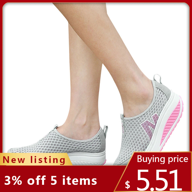 أحذية نسائية جديدة أحذية أنيقة غير رسمية المشي منصة الارتفاع زيادة النساء المتسكعون تنفس شبكة سوينغ أسافين حذاء A30716 1