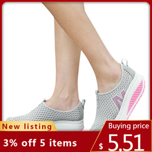 Shoes Walking-Platform Women's Wedges New Height A3 Breathable Loafers Mesh-Swing Increasing