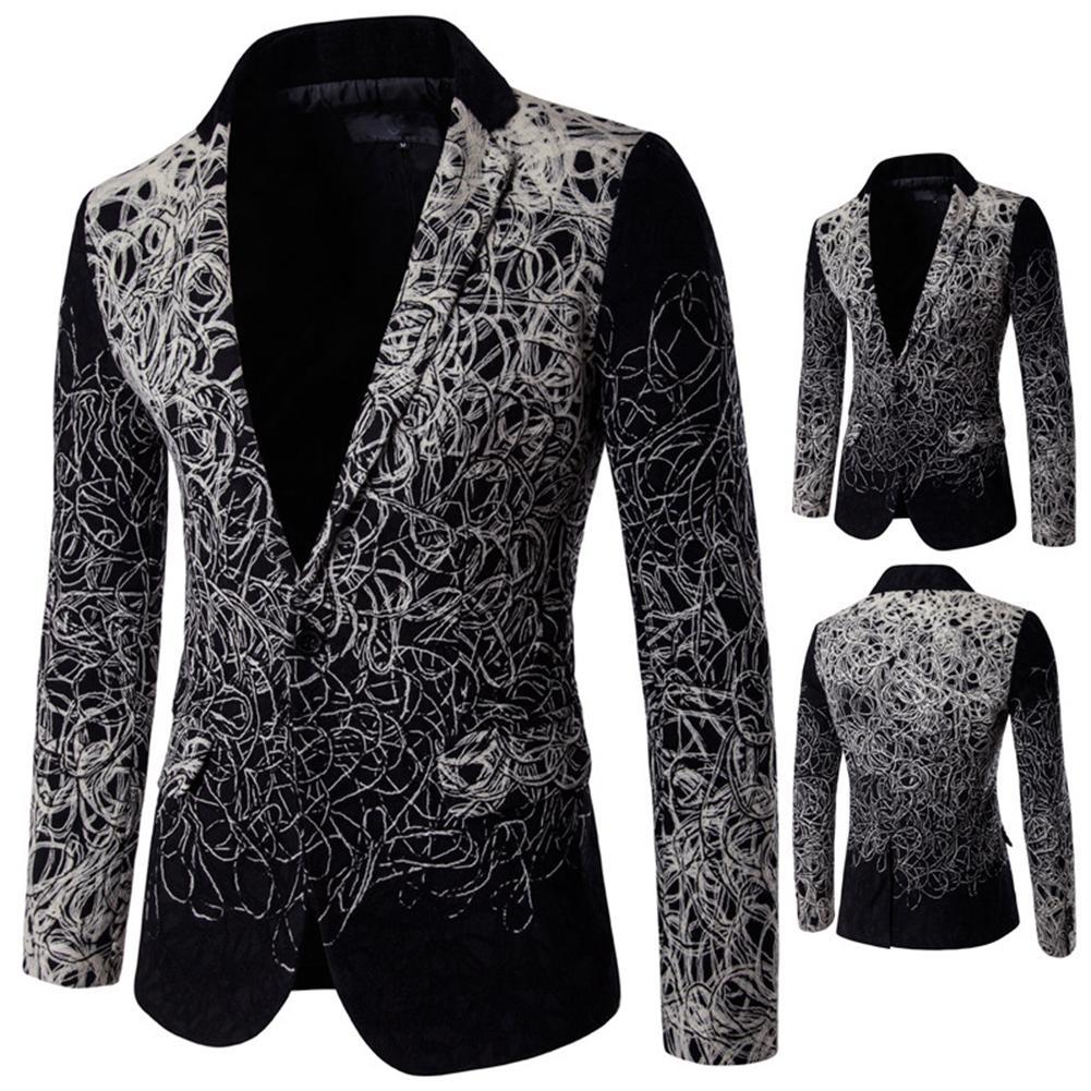 Chic Trendy Men Long Sleeve Lapel Collar Gradient Color Print Button Slim Blazer Coat Top