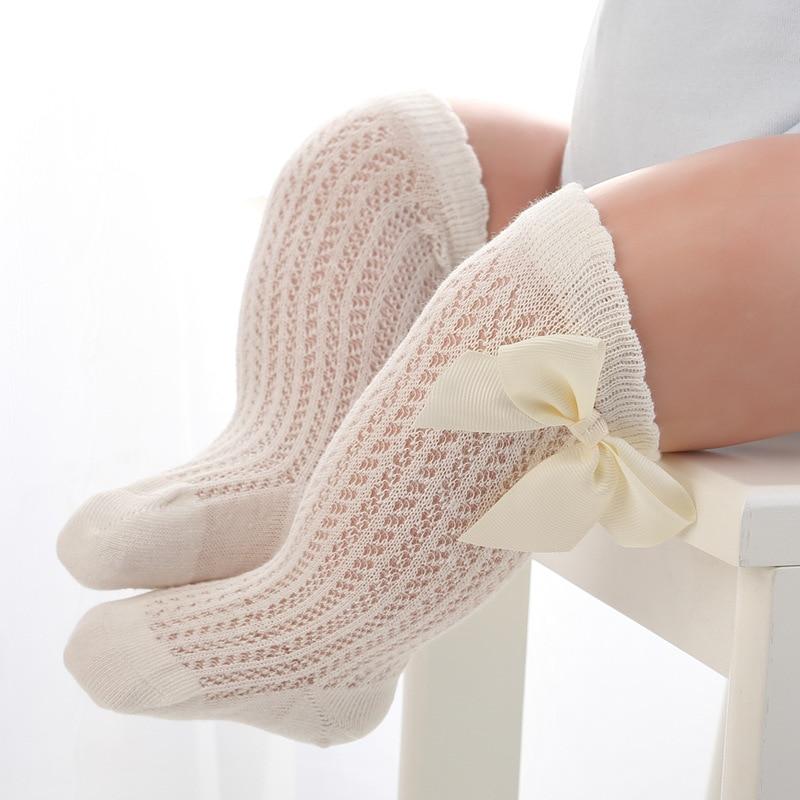 2021 Summer New Baby Girls Socks Toddler Kids Bow Cotton Mesh Breathable Sock Newborn Knee High Infant Girl Socks 0-3 years 6