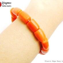 Qingmos натуральный Оранжевый Коралловый браслет для женщин с настоящим 10-11 мм толстым кусочком кораллового эластичного браслета ювелирные изделия bra142 Pulseira