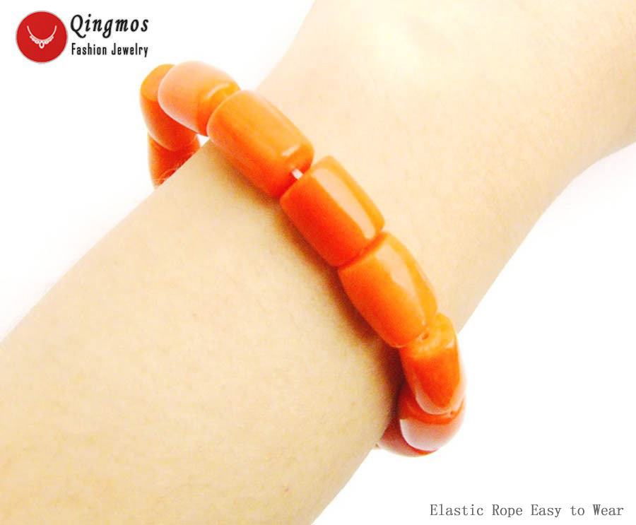 Qingmos Natural Orange Coral Bracelet for Women with Genuine 10-11mm Thick Slice Coral Elastic Bracelet Jewelry bra142 Pulseira