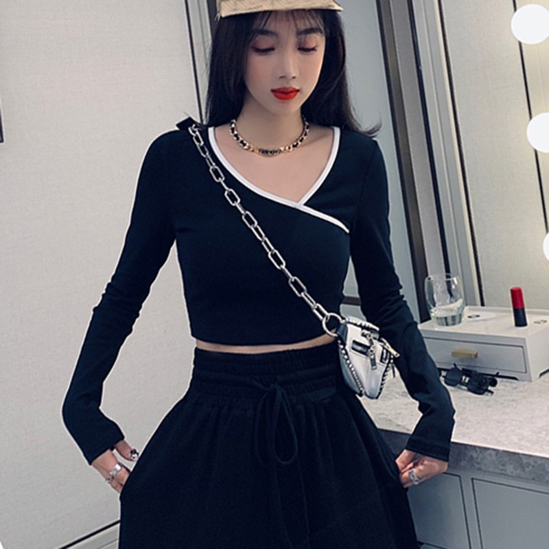 Autumn Striped Patchwork Short T-<font><b>shirt</b></font> Slim Irregular Collar Long Sleeve T <font><b>Shirt</b></font> Women <font><b>Sexy</b></font> Exposure <font><b>Belly</b></font> Bottoming <font><b>Shirt</b></font> image