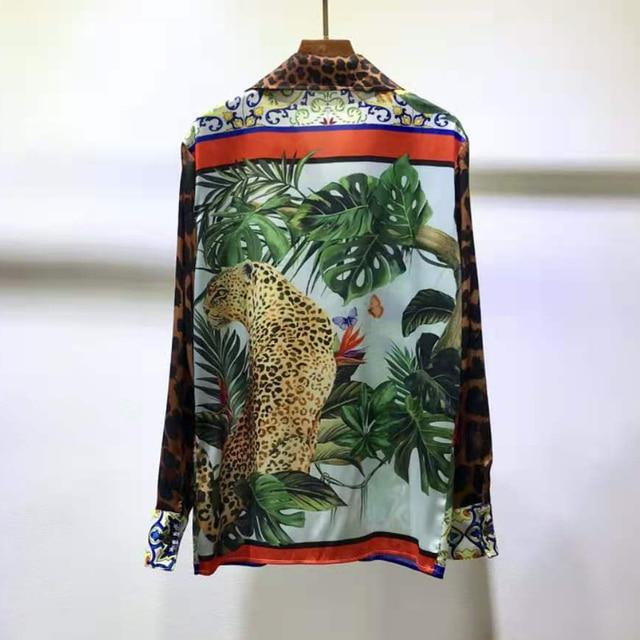 AELESEEN Luxury 100% TWILL SILK Shirts 2021 Spring Runway Fashion Leopard Animal Print Office Ladies Party Elegant Blouse XXXL 2