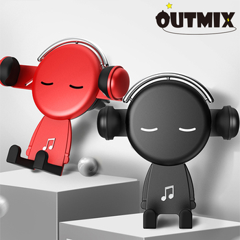 OUTMIX Gravity Car Holder For Phone in Car Air Vent Clip Mount Cell Stand Support For Xiaomi Creative Cartoon phones Holder creative f1 racing car style adjustable support holder for mobile phones green