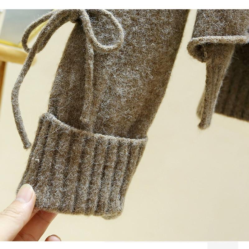 Женский вязаный пуловер на шнуровке плотный свитер с круглым