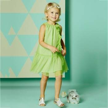 For 2-11 kids Girls fluorescent green sleeveless dress
