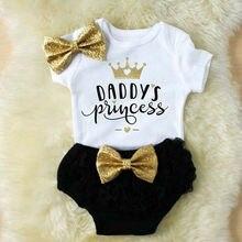 От 0 до 18 месяцев, комбинезон принцессы для новорожденных девочек+ тюлевые трусики, повязка на голову, летняя мода, с буквенным принтом, дышащий набор комбинезончиков для младенцев