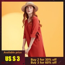 Metersbonwe Women Fashion OL Official Dress for Female Girls brand 2019 new arrival sexy hollow-out black red V neck Dress(China)