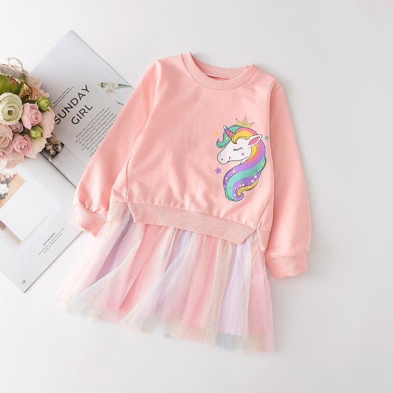 Vestido de dibujos animados para niñas, suéter de flores, ropa de princesa, primavera 2021