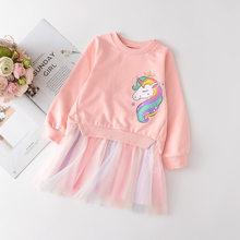Primavera 2021 meninas vestido meninas dos desenhos animados camisola flor vestidos da menina crianças meninas vestido crianças roupas princesa vestido roupas da menina