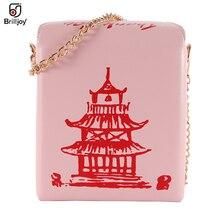 Brilljoy китайский вынос коробка Сумочка башня из искусственной кожи с тисненым узором женские сумки из натуральной кожи; Новая модная сумка че...