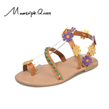 2019 Summer Shoes Woman Gladiator Sandals Women Shoes Flat Fashion Sweet Flowers Boho Beach Sandals fashion women boho sandals leather flat sandals ladies shoes indoor