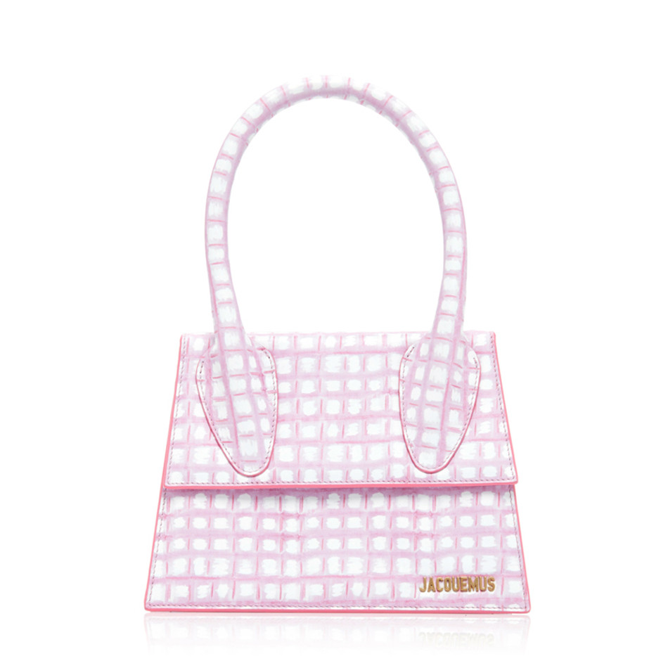 JACOUEMUS Famous Designer PU Leather Pink Plaid Handbags For Women, 2 Sizes