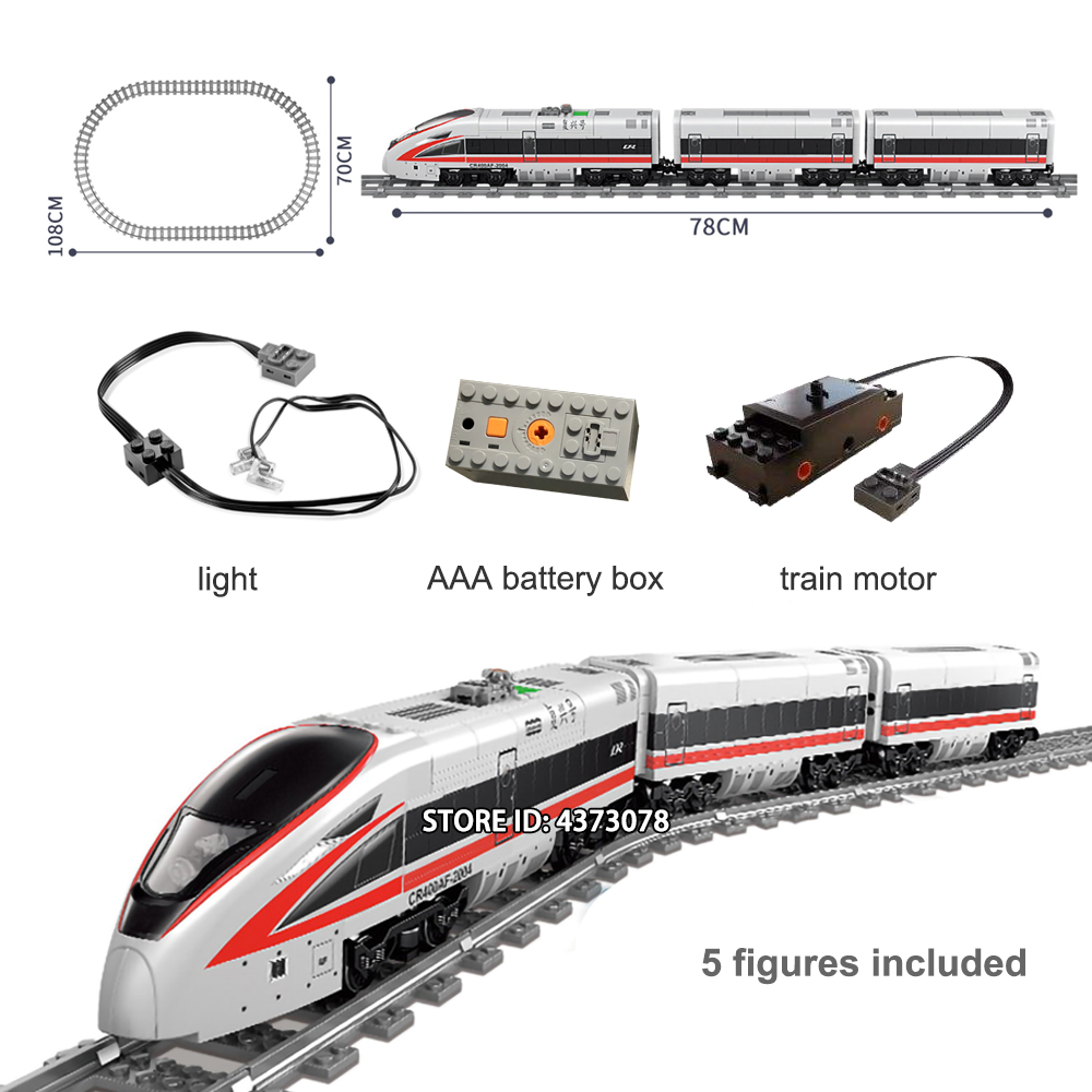 Fit Technic Series Train Electric Powered City Train Set With Track Mini Figures Educational Building Blocks Toys For Children
