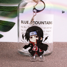 Купить с кэшбэком Anime Naruto Keychain Figure Acrylic Kakashi Shikamaru Uzumaki Naruto And Bijuu Twoside Print Keyrings Portachiavi Key Holder