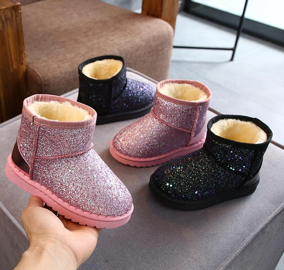 Winter Kids Fashion Snow Boots Thick Child Cotton Shoes Warm Plush Soft Bottom Baby Girls Boots Winter Ski Boot For Baby