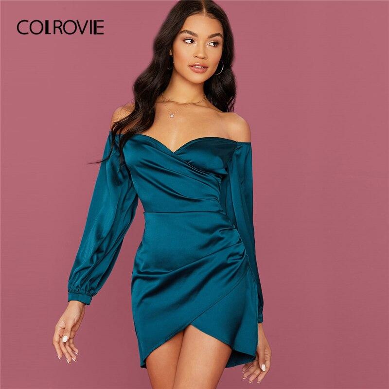 COLROVIE Green Off Shoulder Asymmetrical Hem Satin Dress Women Bishop Sleeve Mini Dress 2020 Spring Sexy Glamorous Dresses
