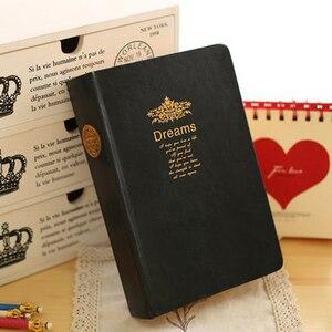 Image 2 - Bardzo grube Retro złoty obręcz zeszyt gładki sen wytłaczanie na gorąco miękki notatnik duży obraz napisz pamiętnik piśmiennicze dziennik prezent