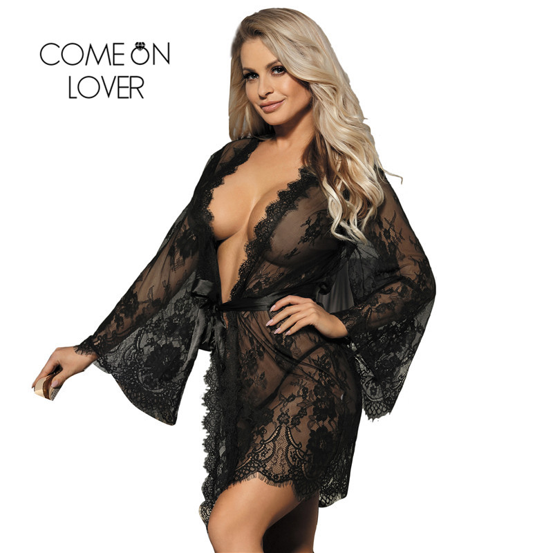 Comeonlover Lace Kimono Dressing Gown Mesh Lingerie Eyelash Big Size Nighty For Sex Sleep Robes Lace Big Size  Lingerie Babydoll
